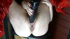 Huge Black Toy in Swollen Pussy