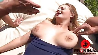 Threesome by the swimming pool Candy Alexa