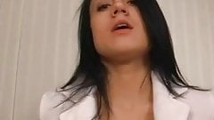 Varla plays with her shaved pussy