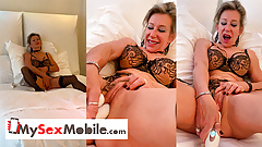 French blonde MILF Marina Beaulieu masturbates with a sextoy
