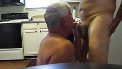 Grandpas having fun in the kitchen
