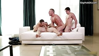 Foursome anal action with horny guys