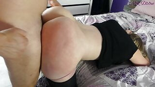 I spanking the big round ass of my Stepmom! She love it that