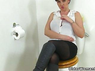 Jerking penis off in bathroom videos British milf amber leigh needs to get off in bathroom