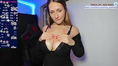 A girl with adorable breasts caresses herself