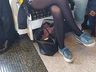 Long femdom flash videos - Long pantyhose legs on london underground