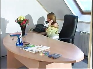 Lesbian office teen Lesbian office executives fucking with a strap on
