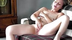 Wife Masturbates on Couch while Hubby Videos