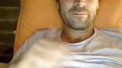 Hot hairy man cum on webcam