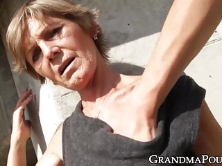 Lusty old grannies with big boobs Lusty grandma teased by younger guy before giving blowjob