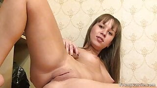 Young Carrie getting naked and showing off her vagina