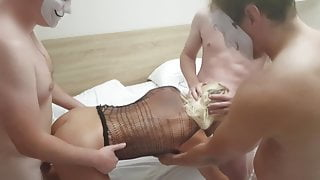 Cuckold Hot Wife GangBang with 3 strangers