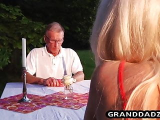 She watched her husbands dick She sucks the butters dick in front of her old husband