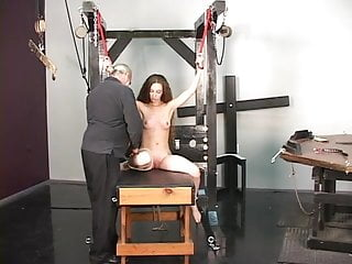 Sex slave fucking bench table - Slave gets restraint bound to table master gives nipple torture with clamps
