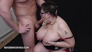Big tits Chubby Mature fucking a big white cock