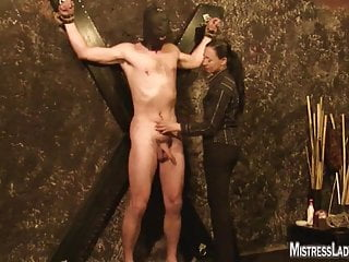 Gothic bdsm pics - Lady jenny tortures slave fastened to the wall