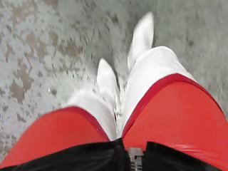 Tightest pussy pounded - White thigh boots and the tightest red leggings i have