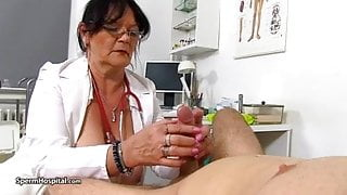 cum extracted by mature nurse Berta