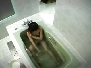 Asian clit girl Japanese girl rubs her clit in bathtub