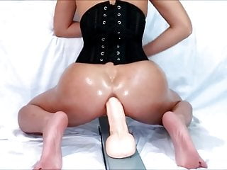 Objets up her ass - Kinky milf takes dildo up her ass for hubby