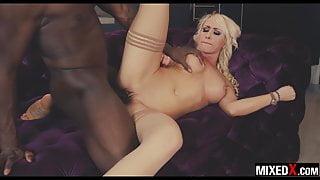 Curvy beauty blonde Christina Shine fucks monster BBC