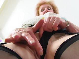 Granny clit videos - Busty granny with big piercing in old clit