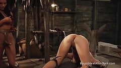 Lesbian Mistress Controlling Slave With Collar And Chain