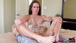 MILF Sofie Marie Jerks Off Stepsons Cock with Her Feet POV