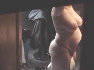 Naked after a shower - Bbw mom spied naked after shower