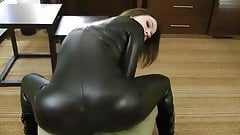 Amazing blowjob in leather catsuit