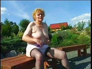 Cum in grandmas mouth Old grandma and young man having sex in the garden
