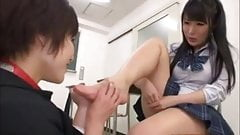 Asian Lesbian Schoolgirl Puts Teacher on Leash to Lick Fe
