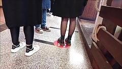 Cute girl in black pantyhose & dr. Marten's