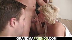 Hot threesome with very sexy blonde mommy