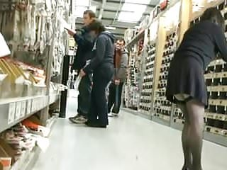 Showing pussy in store Showing stocking tops at diy store