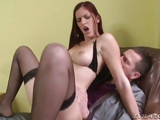 Pot head gets fucked - Hot red head gets her gaping asshole fucked with a cock