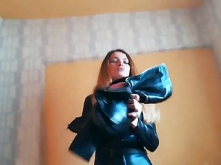 Latex catsuite ass video Nice lady in tight leather catsuit