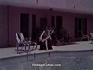 Get that vintage look Sexy looking girl swimming and has fun 1960s vintage
