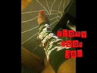 Legwarmers nude Ebony foot job in legwarmers