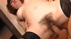 Mom with hairy sweet cunt & yumi saggy tits