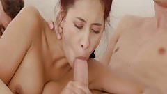 Shy asian receives double cumshot to pussy and belly - HD720