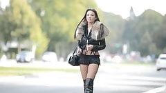 The Best hooker:exhibitionist in microskirt&high heels boots