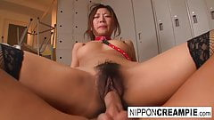 Horny Japanese babe just can't get enough cock