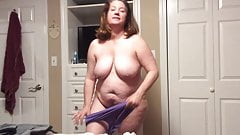 BBW mom with hairy pussy tries on panties and BBC fantasy