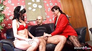 GERMAN MATURE TEACHER, SLIM WIFE AND HUGE COCK HUSBAND FUCK