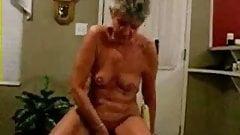 Nasty older woman riding dildo