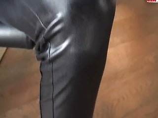 Shemale in leather Hot blonde in leather pants