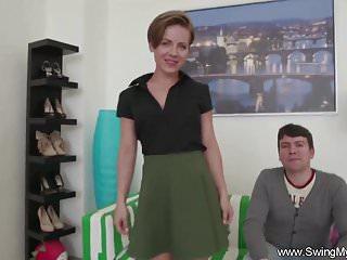Wife cuckold sex clips Short hair swinger wife cuckold sex