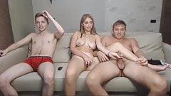 Russian Family Trio, Teen Sucks and Handjobs