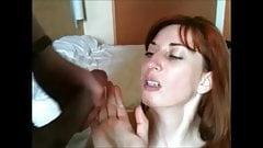 brunette gets her first facial , lot of cum